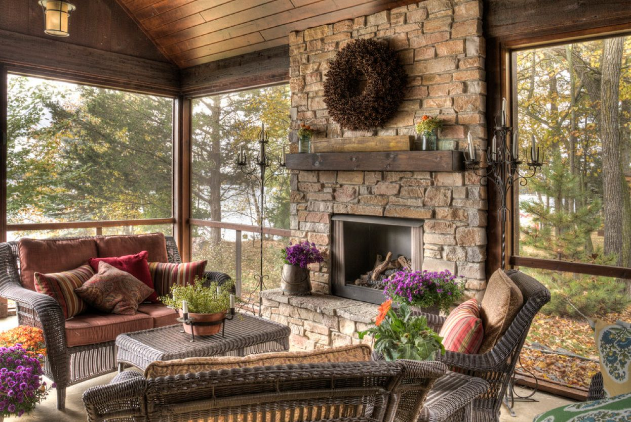 stone fireplace screened porch fireplaces for back porches