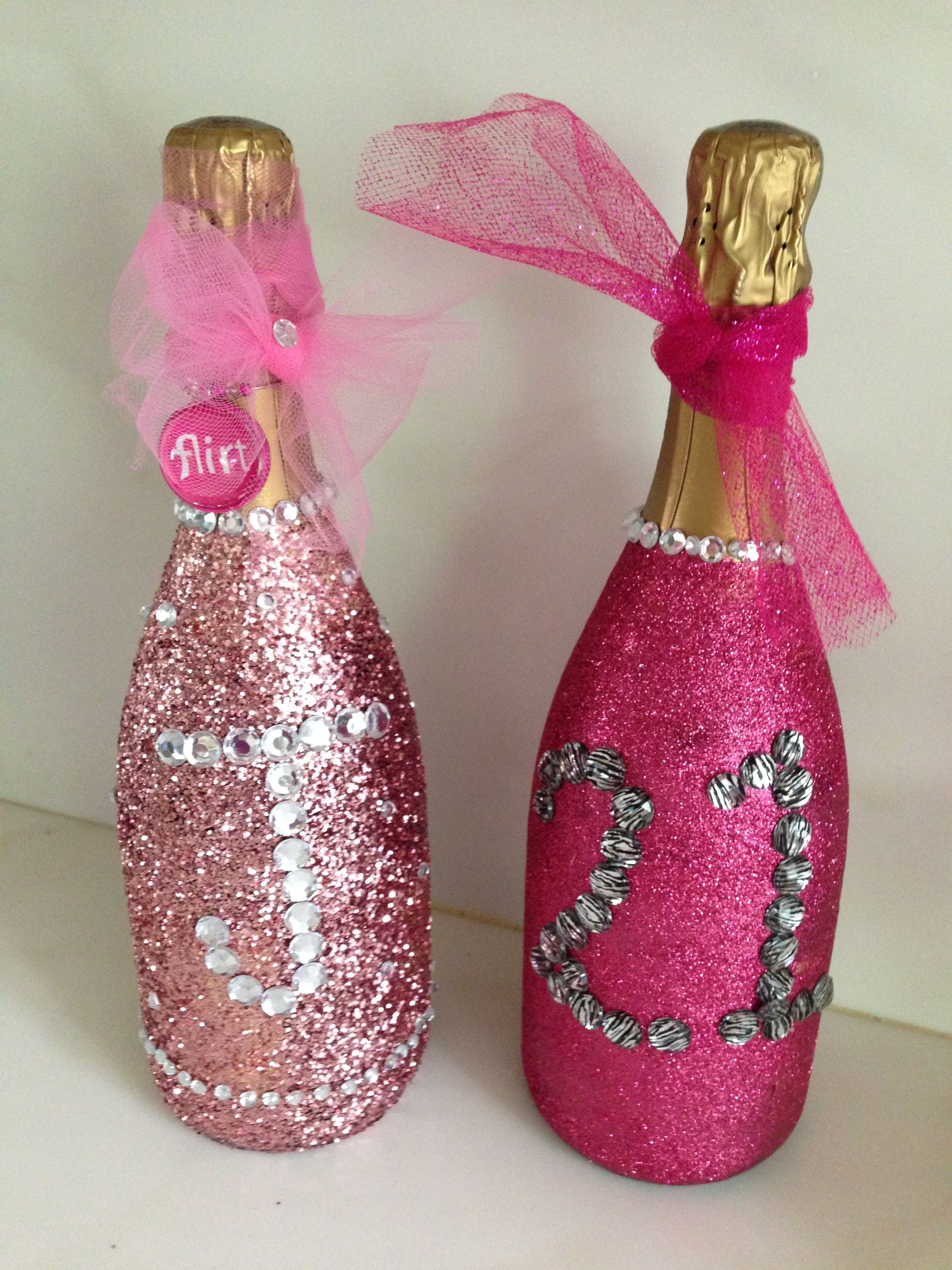 Decorated Champagne Bottles, Love The Initial
