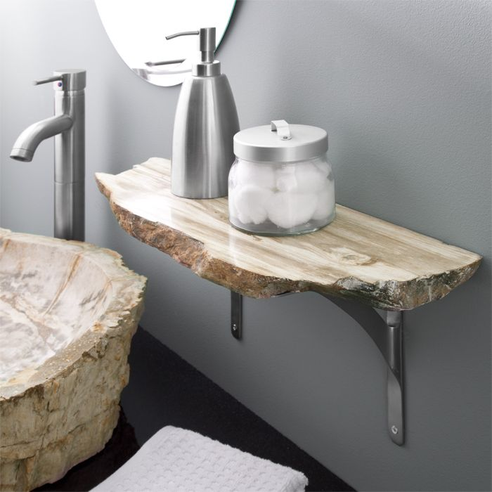 stone coloured bathroom accessories. stone bathroom shelf  beautiful contrast between the clean lines of machined supports and