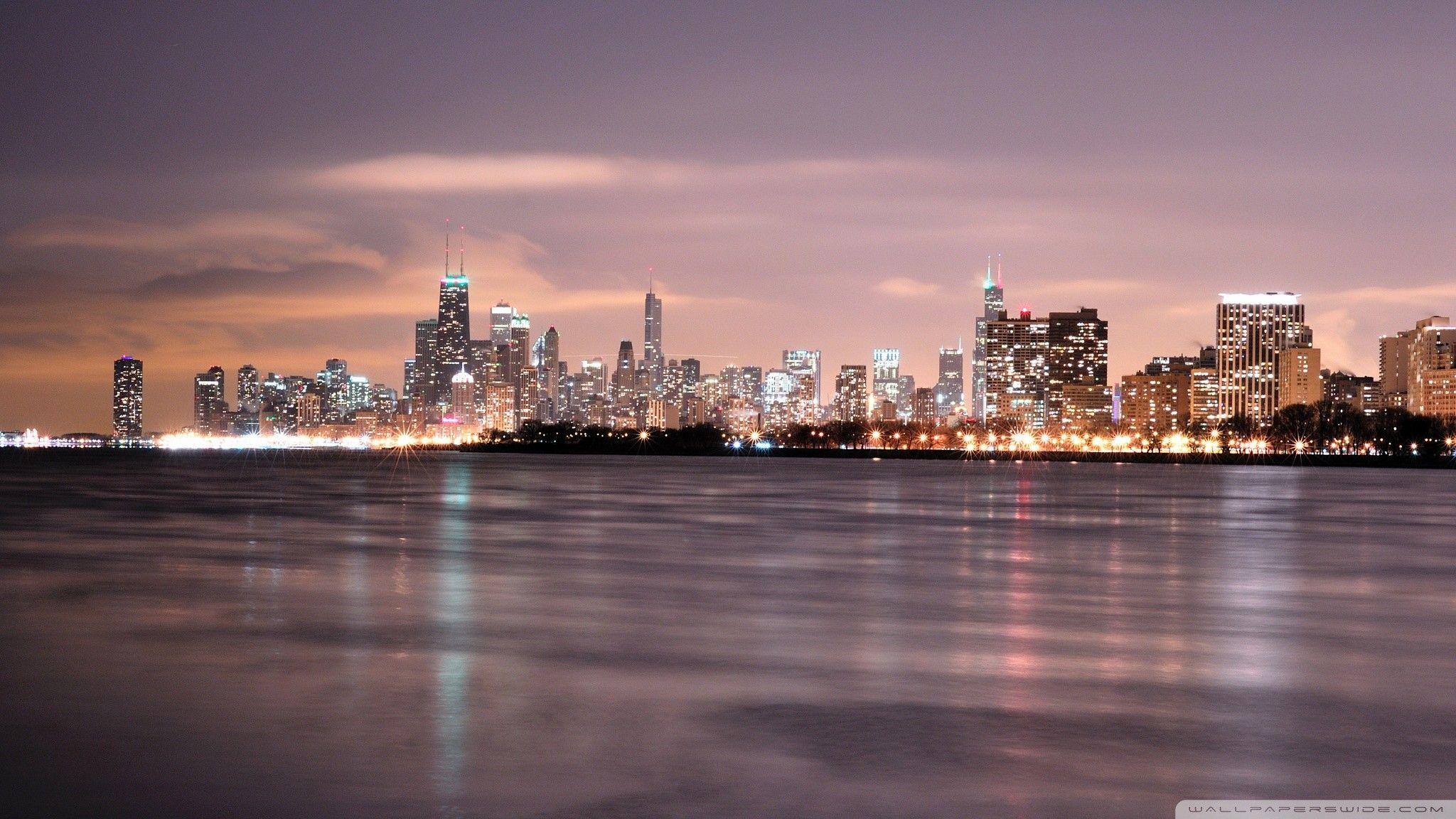 2048x1152 Hd 16 9 Chicago Skyline Skyline Night Skyline