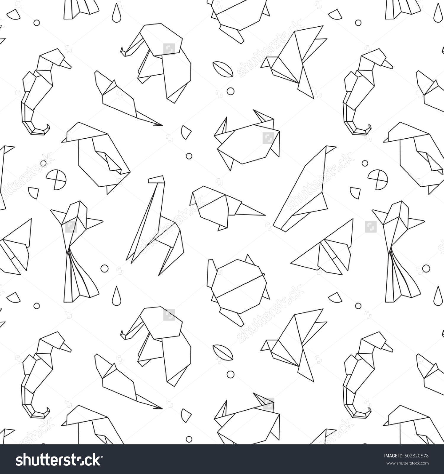Photo of Animals Origami Pattern Snake Elephant Bird Stock Vector (Royalty Free) 602820578