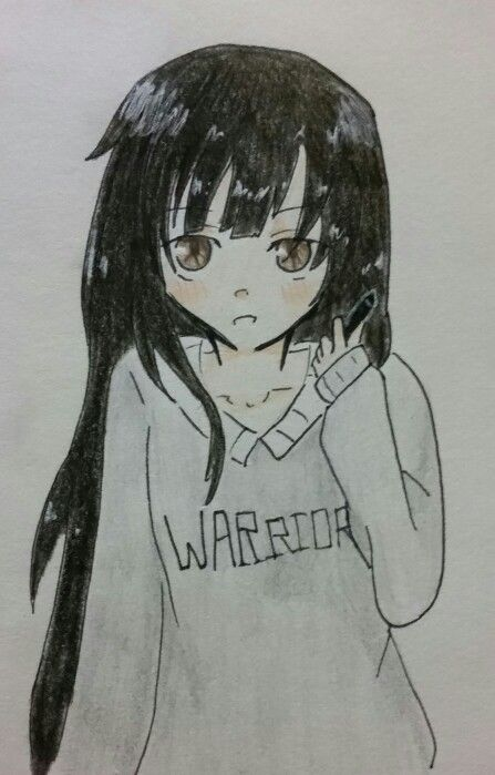 Anime Girl With Long Black Hair And A Warrior Sweater Holding Pen Credit