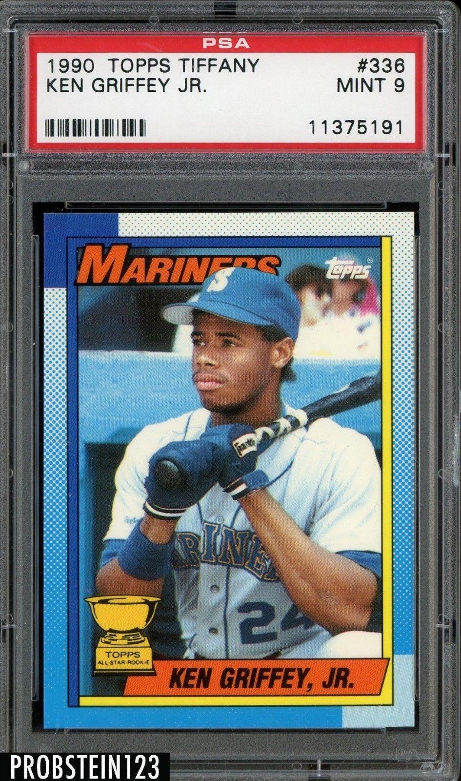 b3e79b3e8d 1990 Topps Tiffany #336 Ken Griffey Jr. Seattle Mariners HOF PSA 9 MINT  #BaseballCards