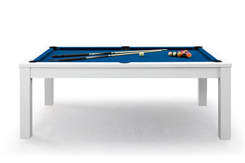 billard table de salle manger defaistre blanc et tapis bleu - Billard Table Convertible