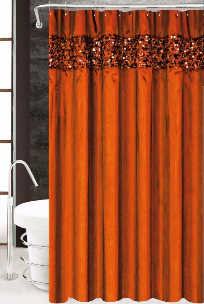 Burnt Orange Fabric Shower Curtain Orange Bathrooms Orange Bathroom Decor Orange Shower Curtain