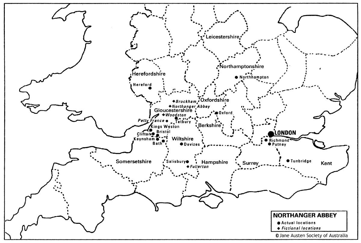 Map Of Locations In Northanger Abbey