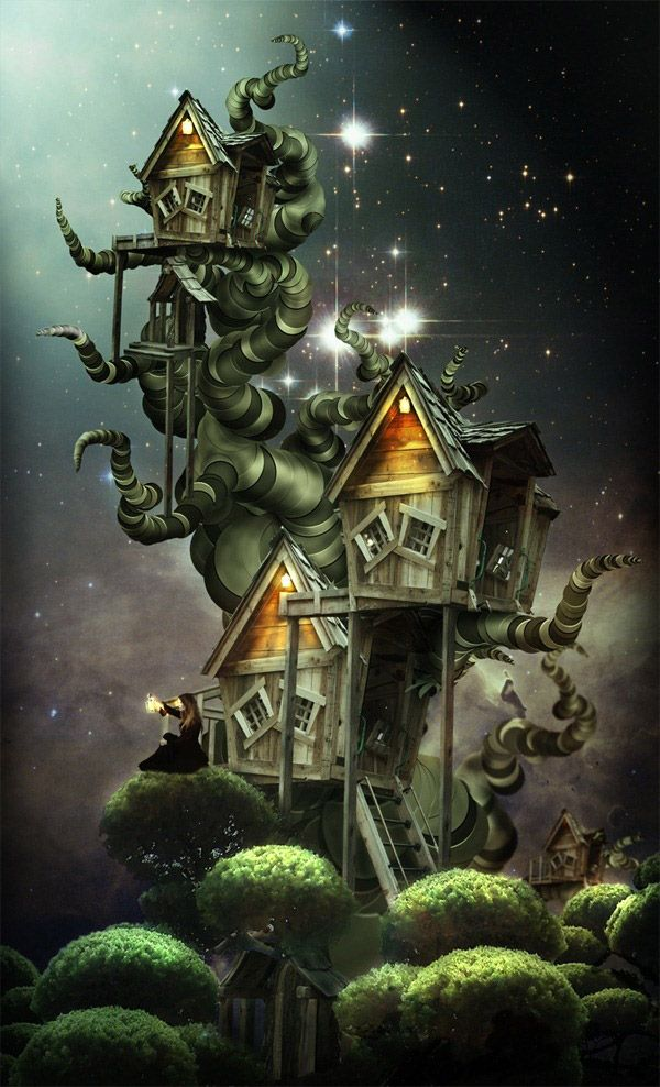 Create An Amazing SurrealStyle Treehouse In Photoshop Photo - Artist creates amazing fantasy dreamscapes into her small studio without using photoshop