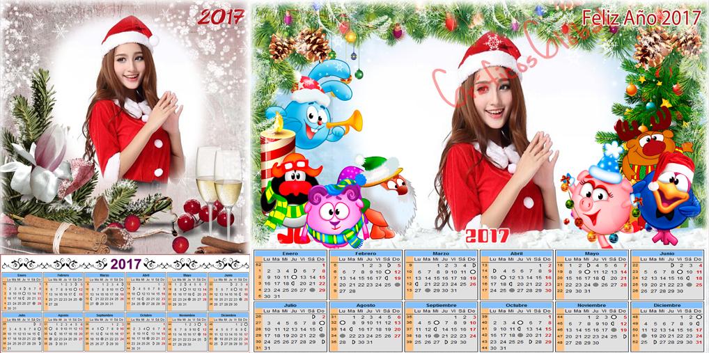Navidad y año nuevo 2017 #calendarios2017 plantillas psd para ...