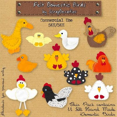 ScrapDesafios: New Products and Freebie - Felt Animals and Dolls