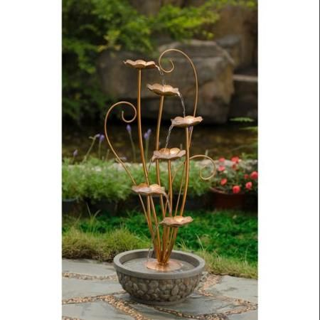 "33.5"" Tiered Copper Metal Leaf and Faux Stone Outdoor Patio Garden Water Fountain"