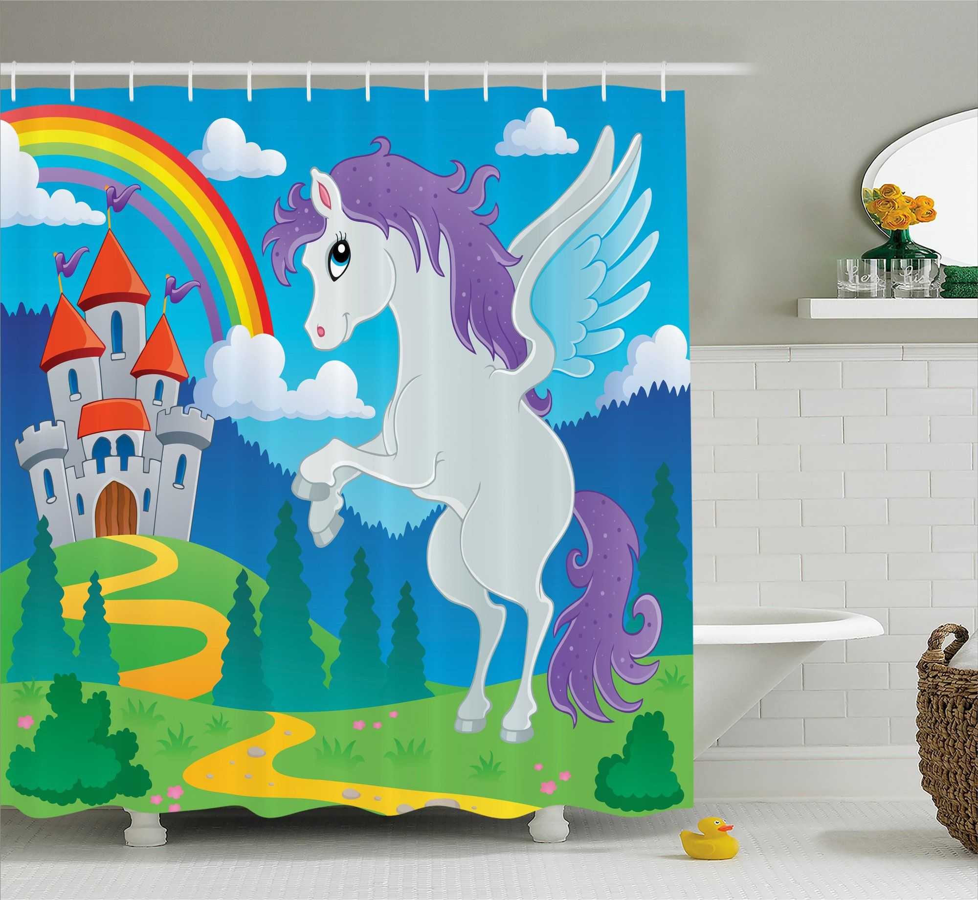 Fairy shower curtain - Luther Unicorn With Rainbow Fairy Shower Curtain