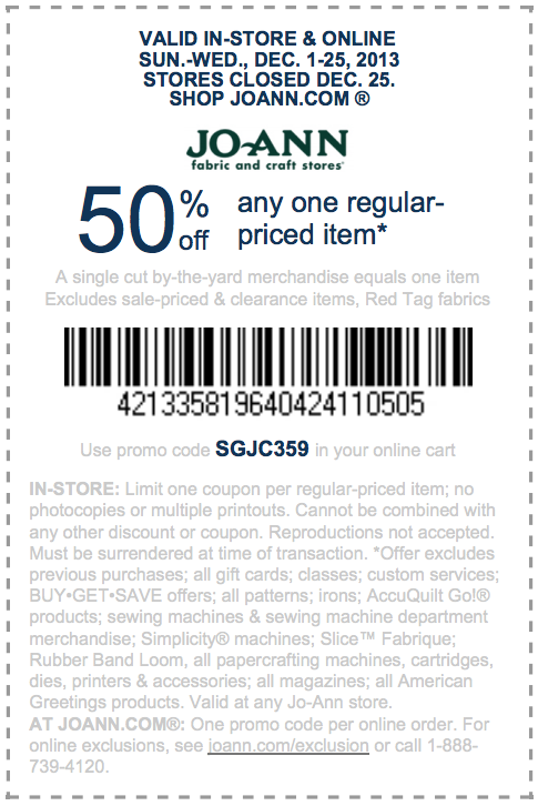 Joann Com 50 Off Item Printable Coupon Joann Fabric Printable Coupons