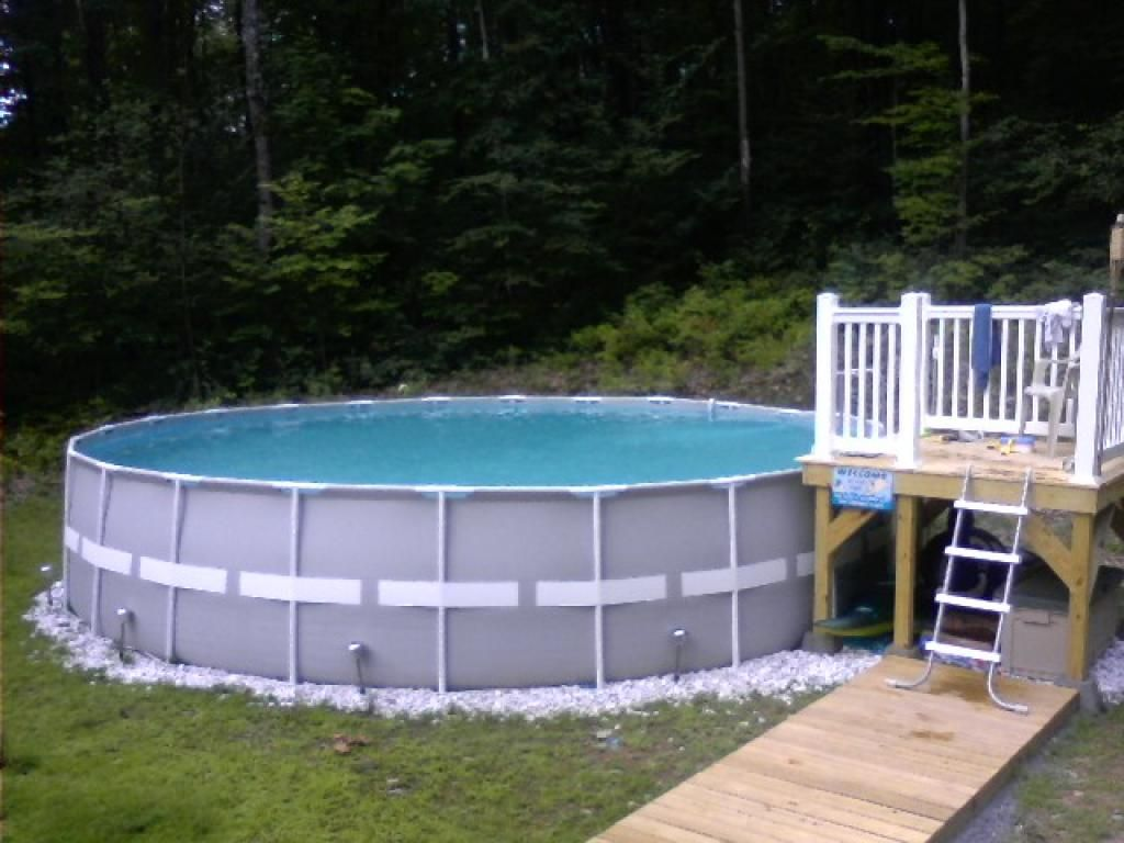 Intex pool deck idea pool ideas pinterest metals for On ground pools