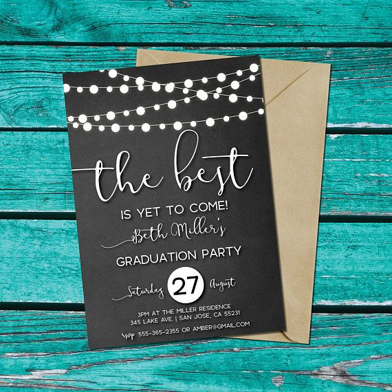 Graduation Party Invitation, chalkboard background, string ...
