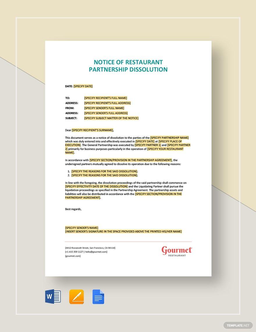 Notice Of Restaurant Partnership Dissolution Marketing Plan