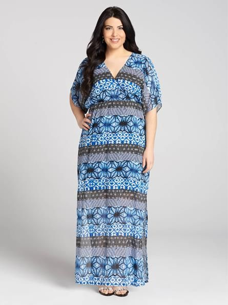 7985c902a7f Laura Plus  for women size 14 . This beautiful blue-coloured chiffon maxi  dress features a V-neck and sleeves that gracefully fall at the elbow.