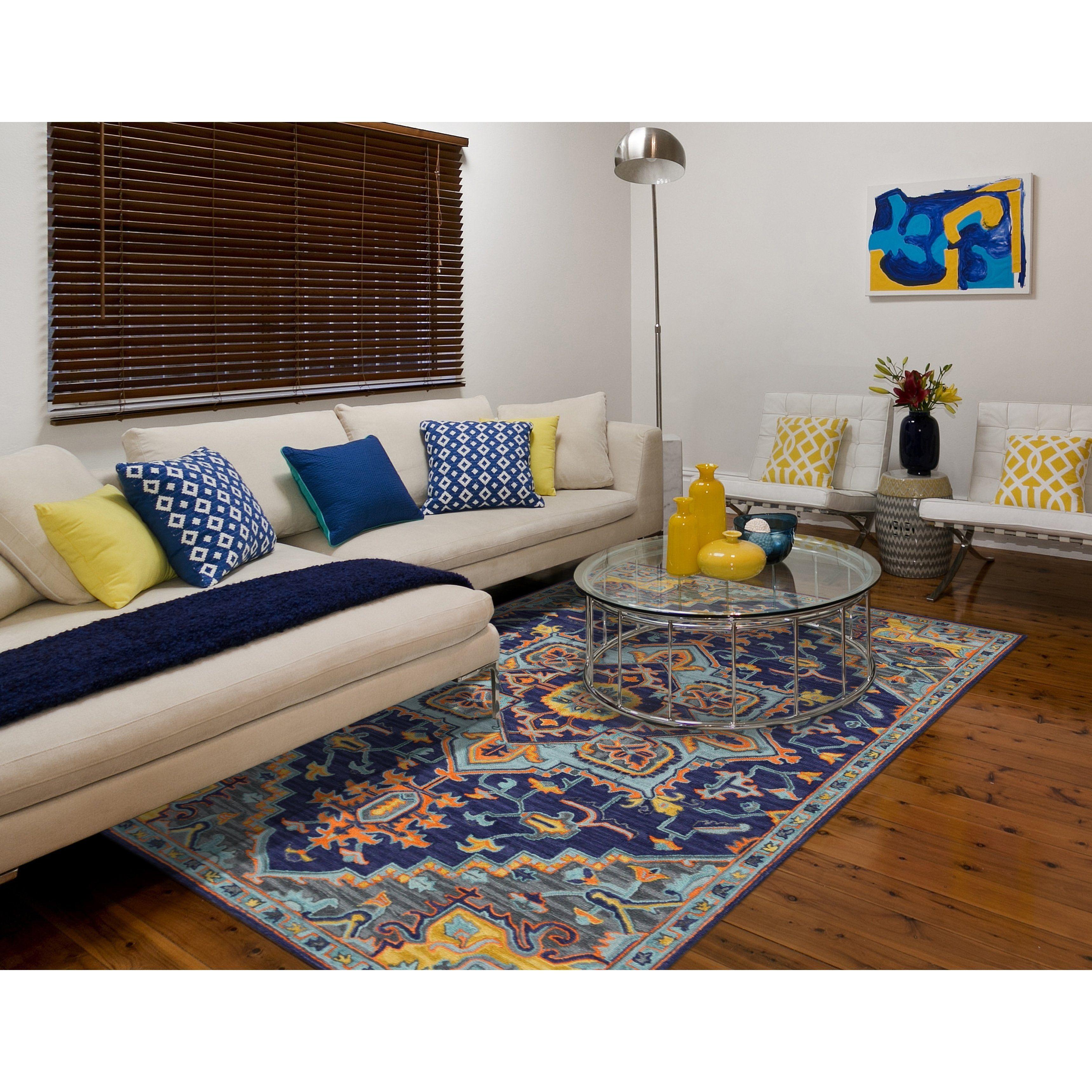 Calliope Bohemian Blue Violet Hand Tufted Area Rug 5 X 8 Navy 5 X 8 Purple Wool Medallion Elegant Living Room Orange Area Rug