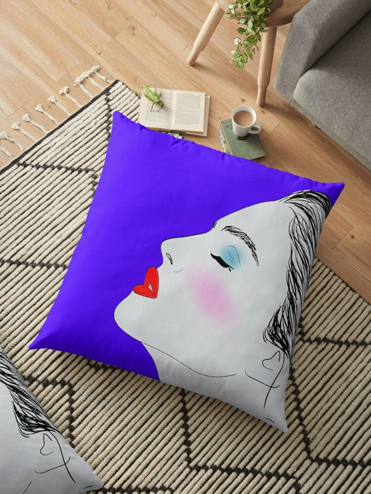 'Daydreaming. Digital profile portrait of a lovely young woman.' Floor Pillow by IvyArtistic