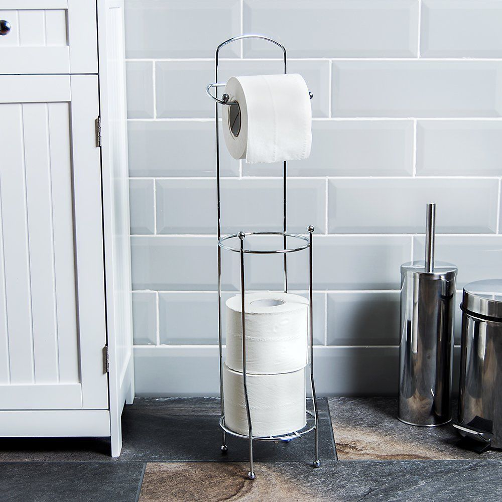 Toilet Roll Stand Free Standing Bathroom Storage Chrome Finish ...