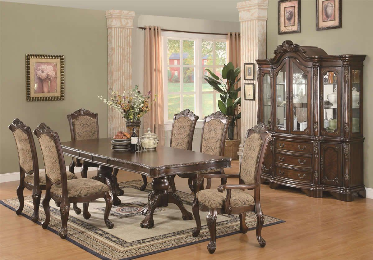 Dining Table Set Traditional brown cherry finish traditional dining table w/extension leaf