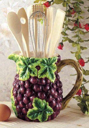 Amazon Com Grapes Wine Kitchen Utensil Tool Set Decor Pitcher 7 Piece Home