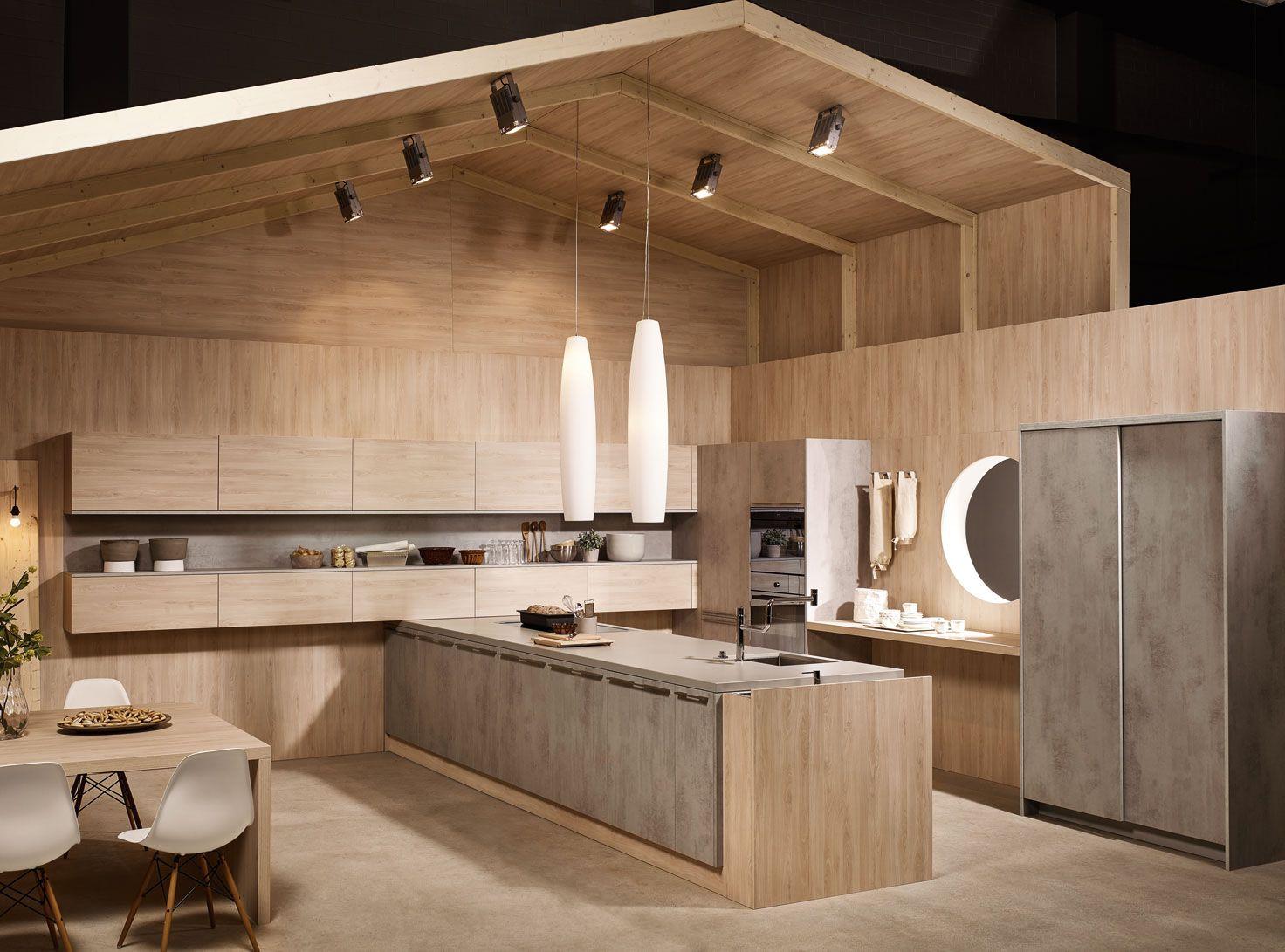 KH Küche: Beton Grau + Fjord Buche Natur / KH Kitchen: Concrete Grey +