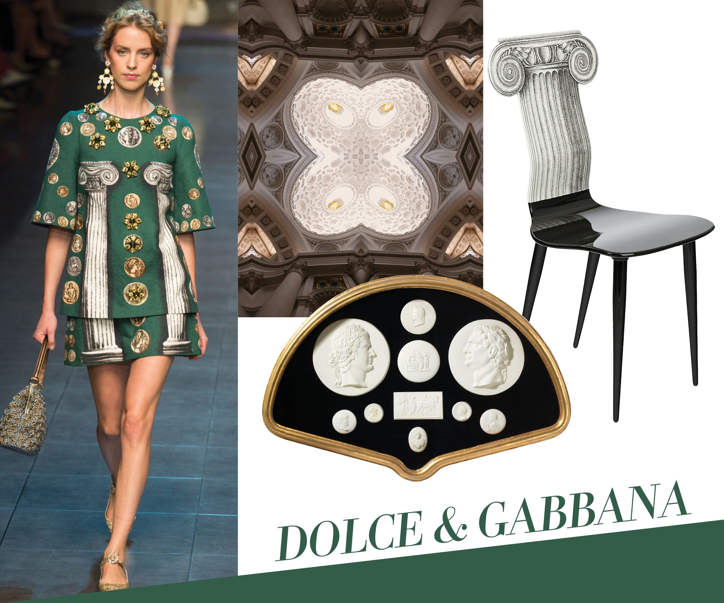 Dolce & Gabbana's photorealistic and painterly interpretations of classical Roman and Grecian architecture playfully manipulate scale and form, a signature of the late designer Piero Fornasetti and now his son, Barnaba. David Nosanchuk's background in architecture comes through in his debut collection of wallpapers, which launched this week, featuring repeating photographic slices of famous Roman landmarks. Collectors of the Neoclassical can't resist mounted nineteenth-century Grand Tour ...