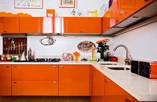 Kitchen White Walls And Counters Wood Floor Glossy Orange Cabinets