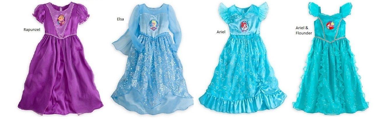 Sleepwear 99735: Disney Frozen Elsa Princess Rapunel Ariel Night ...