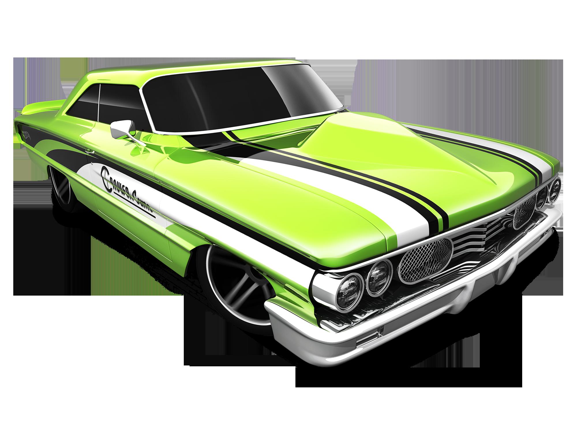 Mattel Hot Wheels Diecast Car Custom 64 Galaxie 500 2014 Green Carros E Motos Super Carro Carros