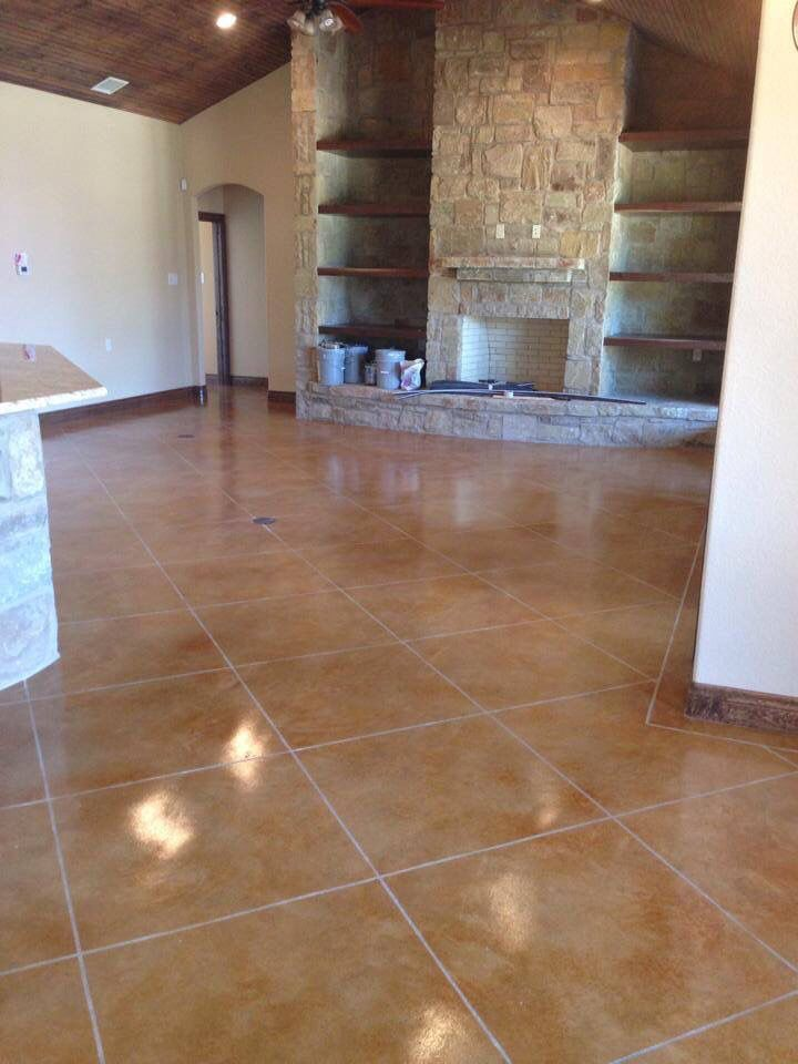 Vintage Umber And Malay Tan Stain Scored Tile Borders Topped With Polyurethane Sealer Stained Concrete