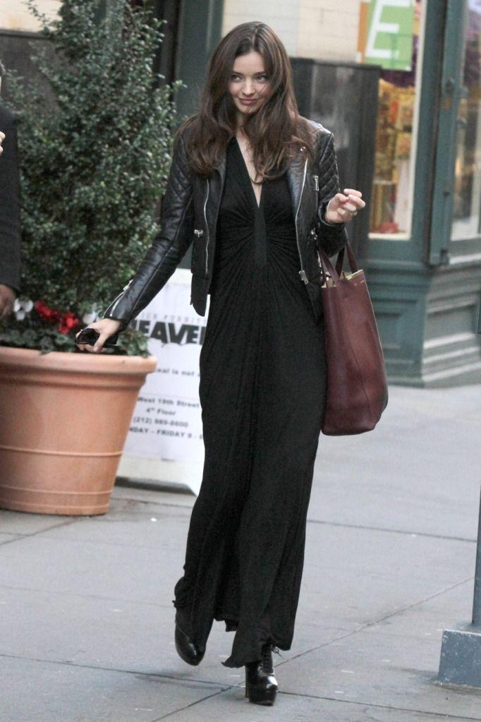 #streetstyle #style #fashion #streetfashion #mirandakerr #maxi #leather #jacket