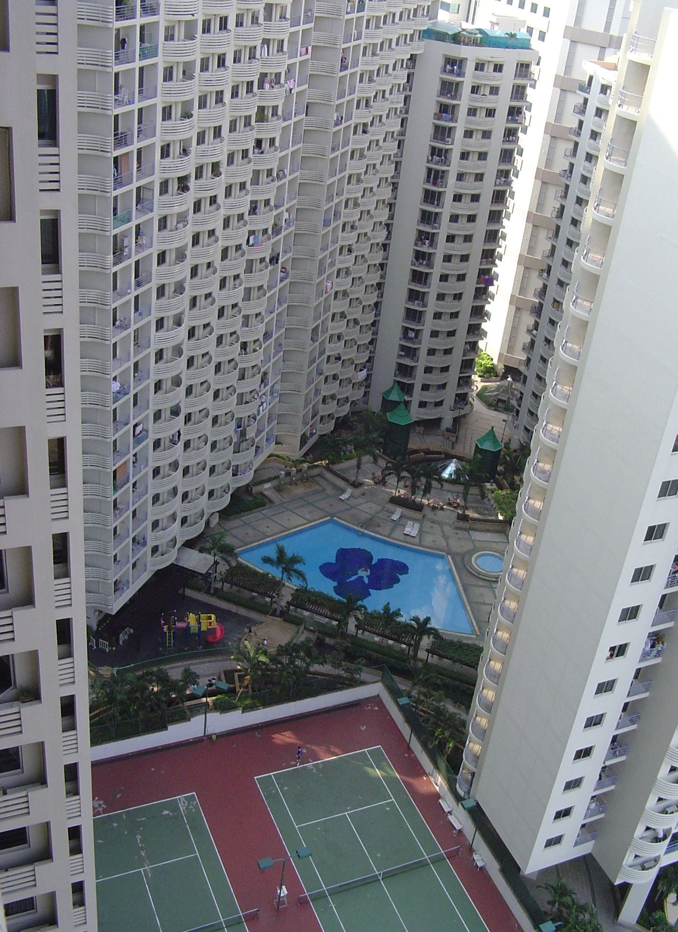 Tennis courts at SV City in Bangkok view from my apartment at the