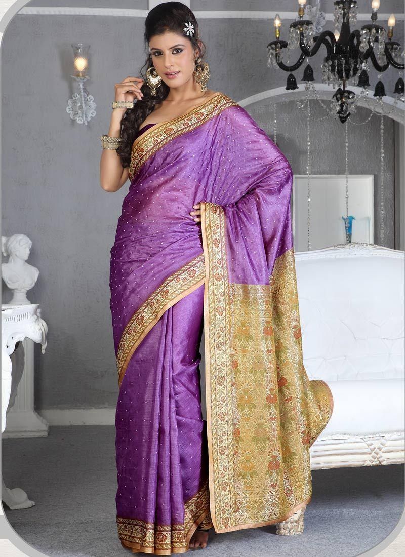 Lavender Art Silk Saree | Indian & Pakistani Fashion | Pinterest