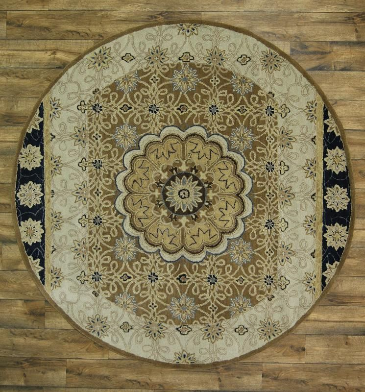 Hand Tufted Classic Floral Brown Round 8x8 Kashan Agra Oriental Area Rug  Carpet