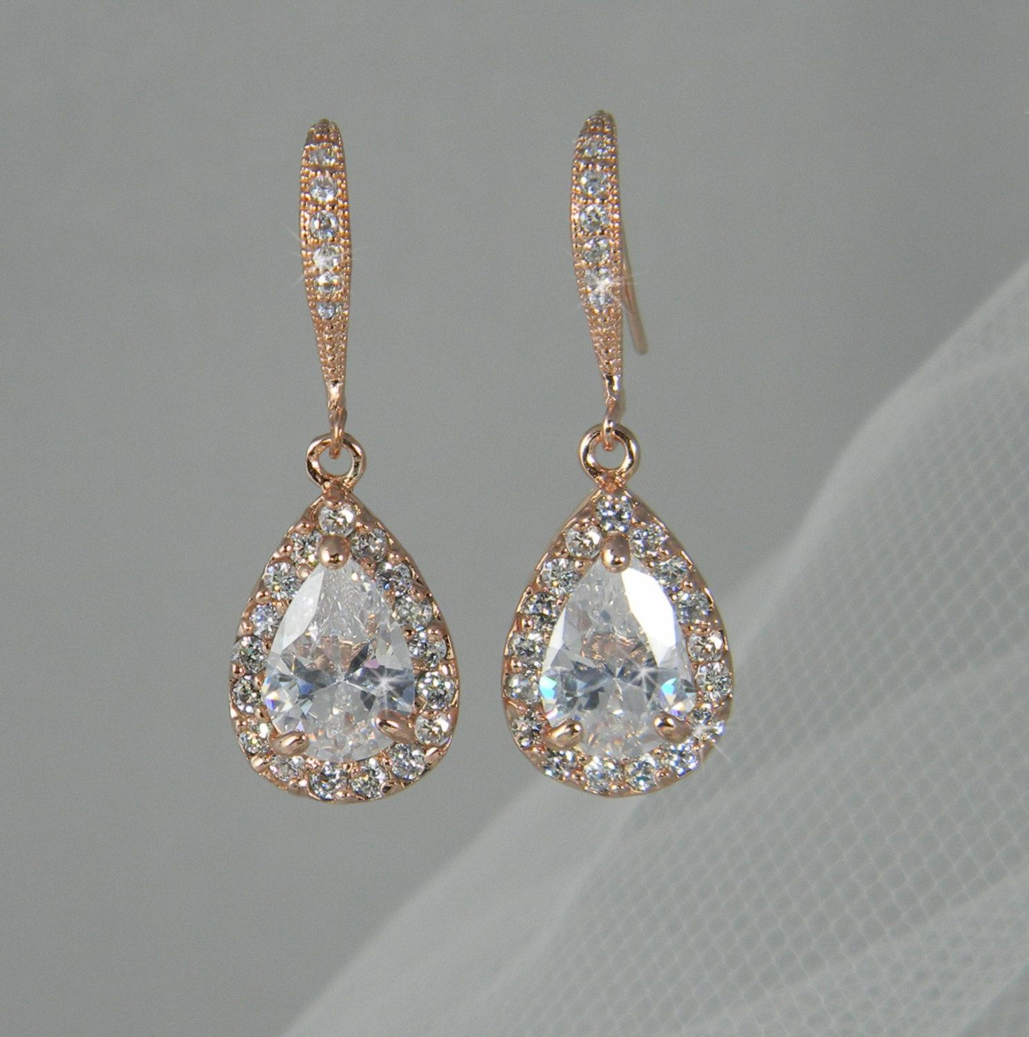 Rose Gold Bridal Earrings Wedding Jewelry By Crystalavenues, $3400