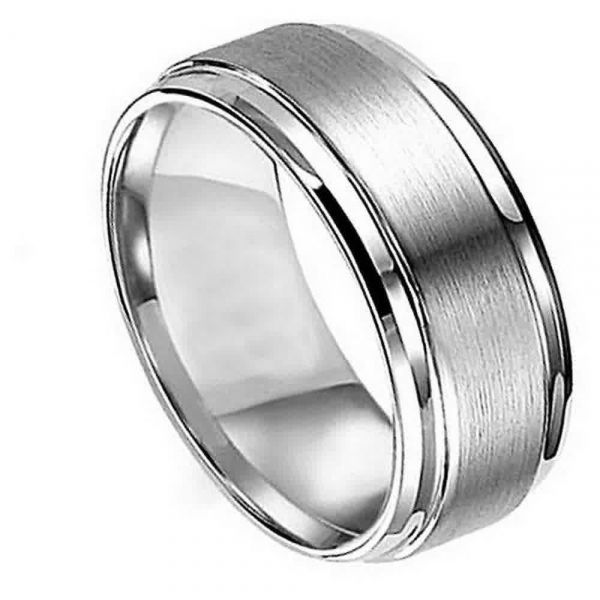 Man Or Las Anium Flat Brushed Center Polished Shiny Edge Wedding Band Ring Men S Size 15