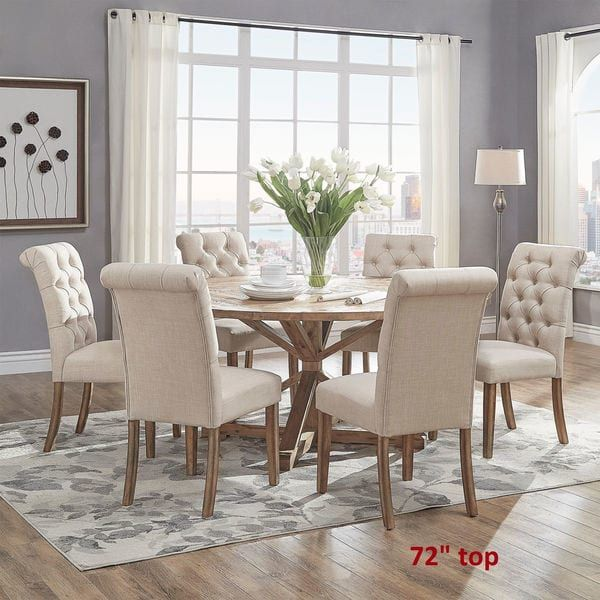 Benchwright Rustic X Base Round Pine Wood Dining Table By INSPIRE Q Artisan
