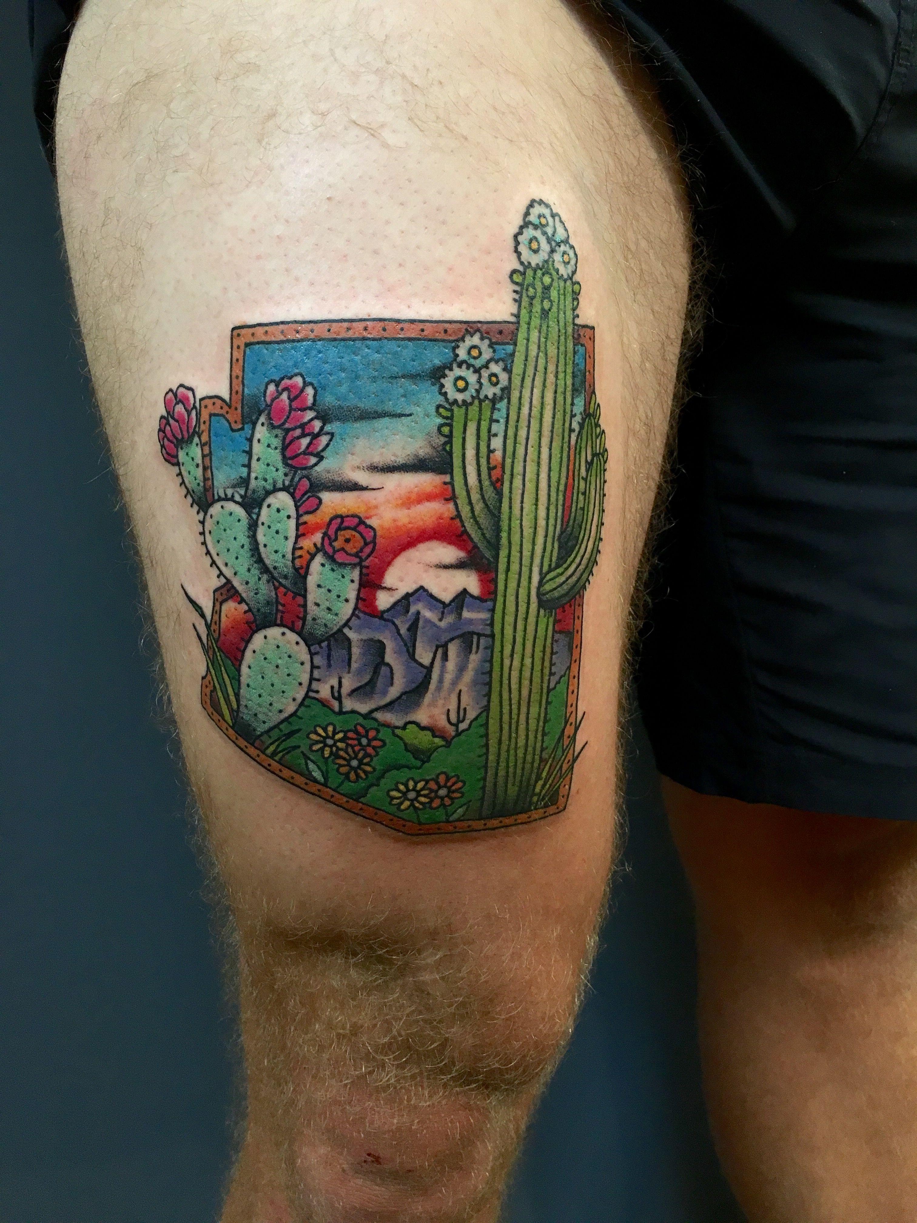 Blooming Arizona Desert By Paulski At Golden Rule Tattoo In Phoenix