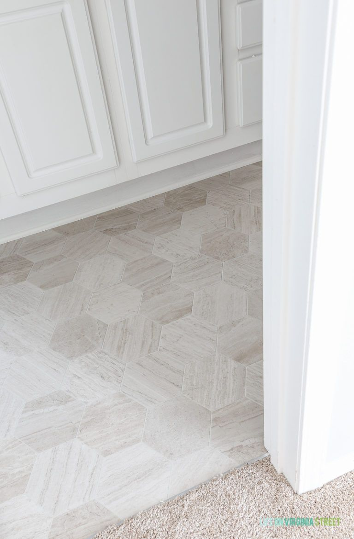 Bathroom Floor Makeover Is Using Mannington Luxury Vinyl In Hive Pollen In 2020 Floor Makeover Vinyl Flooring Bathroom Luxury Vinyl Flooring