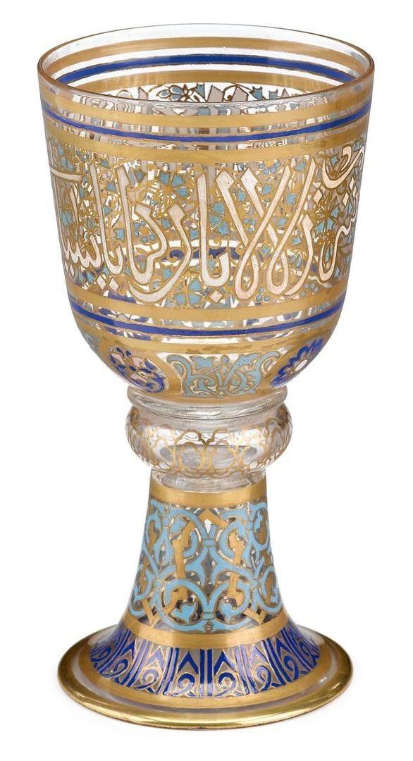 Austrian J L Lobmeyr Enamel And Gilt Painted Glass Goblet