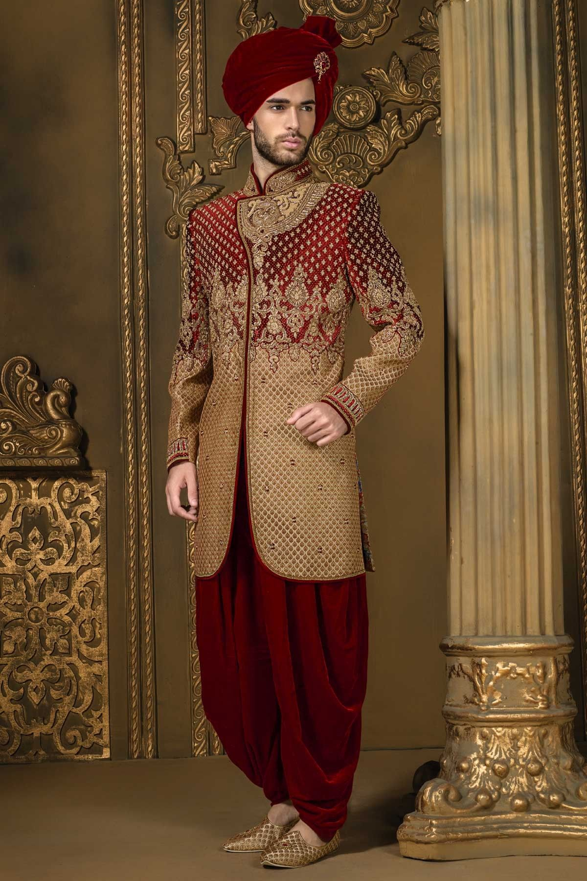 Maroon u gold khinkwab u velvet admirable sherwani with bandh