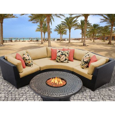 TK Classics Barbados Outdoor Wicker 4 Piece Deep Seating Group with Cushion Fabric: Sesame