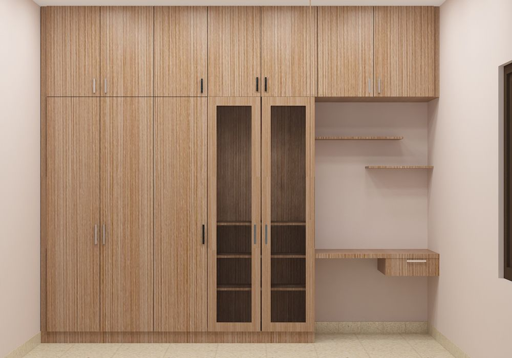 Cristobal Wooden Wardrobe With Loft And Study Table Made Up Of Plywood With Laminate Finish Bedroom Cupboard Designs Bedroom Furniture Design Cupboard Design