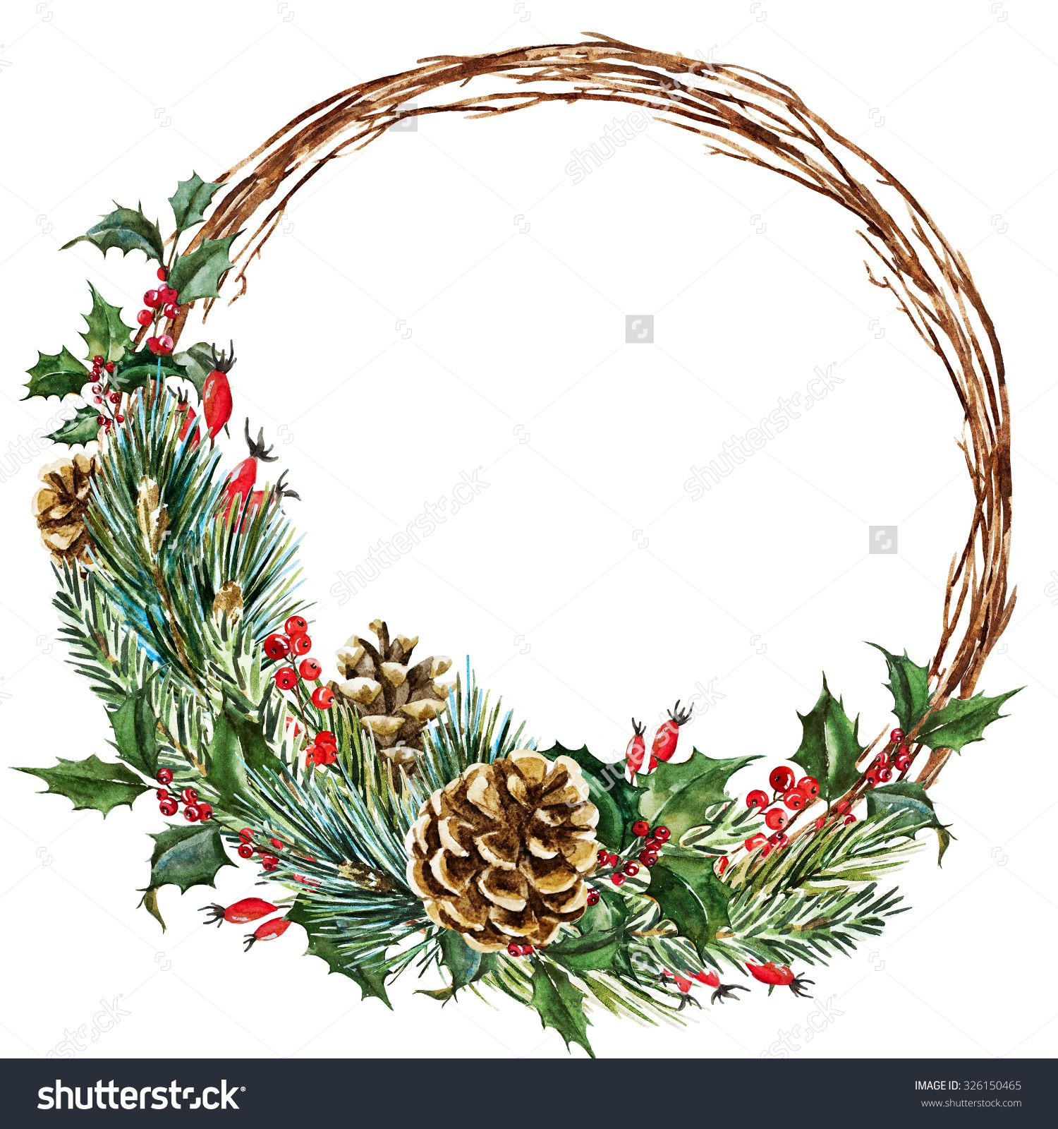 Christmas Garland Drawing.Watercolor Drawing Isolated Christmas Wreath With Fir Pine