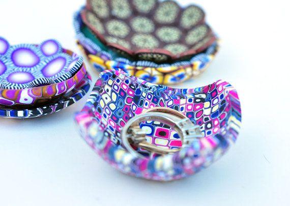 Ring Dish, Teeny Tiny Klimt Inspired Square Geometric Polymer Clay