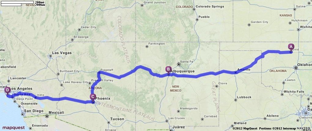 Driving Directions From Enid Oklahoma To Compton Creek In - Mapquest california