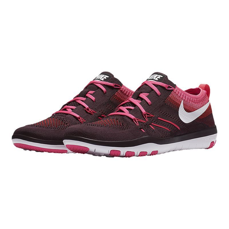 914e7339e057b Nike Women s Free TR Focus FlyKnit Training Shoes - Black Pink in ...