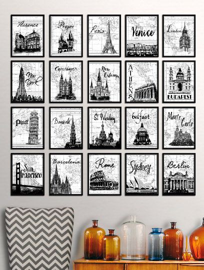 Gallery wall set world travel typography poster famous landmarks gallery wall set world travel typography poster famous landmarks your choice modern wall decor black white art paris london world map art gumiabroncs Gallery