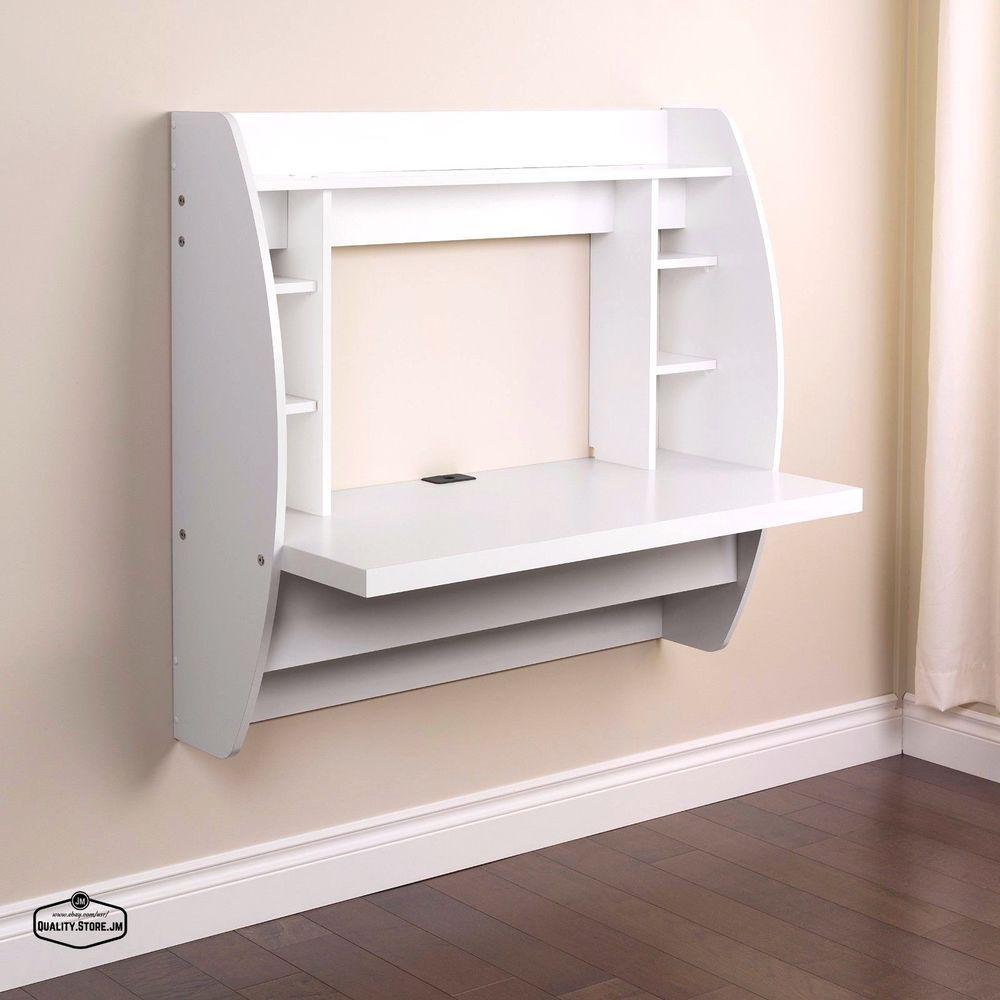 Wall Mounted Computer Table Floating Desk Desk Storage White Floating Desk